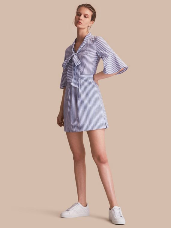 Bell-sleeve Striped Shirt Dress with Tie Neck