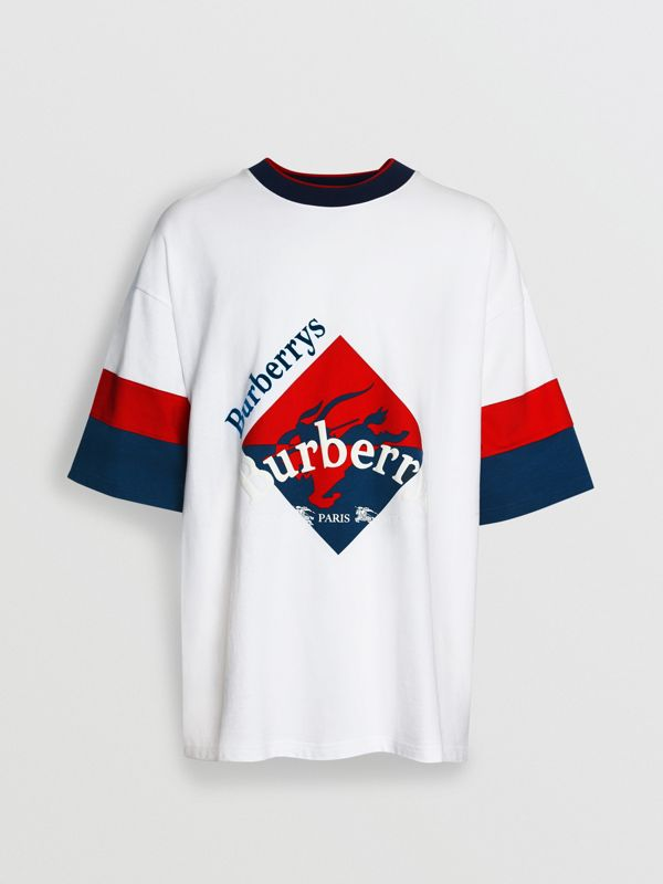 Archive Logo Print Cotton T-shirt in White - Men | Burberry Singapore - cell image 3