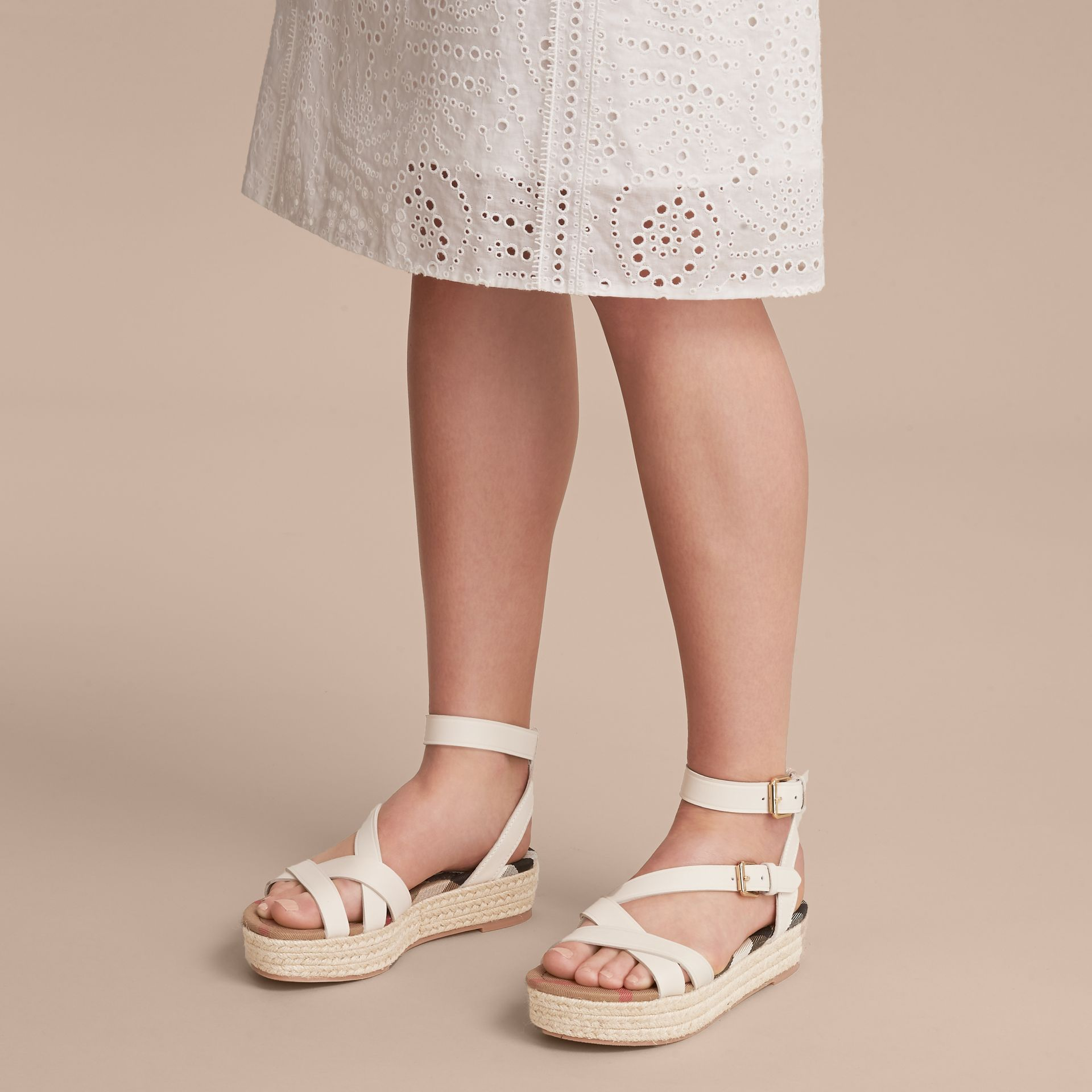 Leather and House Check Espadrille Sandals in Off White - Women | Burberry United Kingdom - gallery image 3