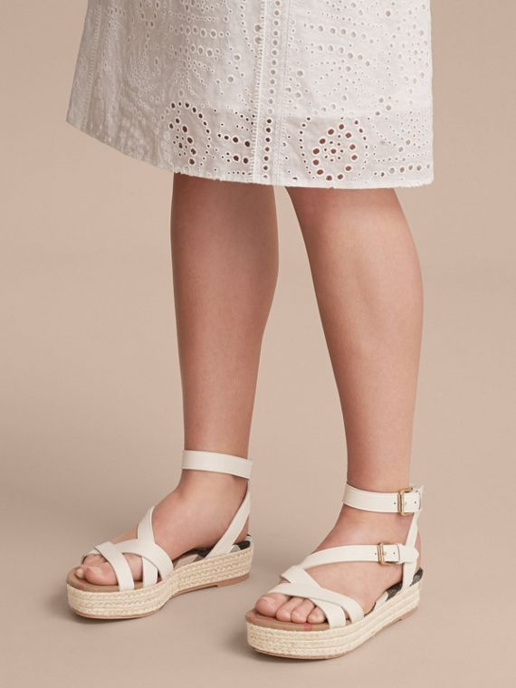 Leather and House Check Espadrille Sandals in Off White - Women | Burberry - cell image 2