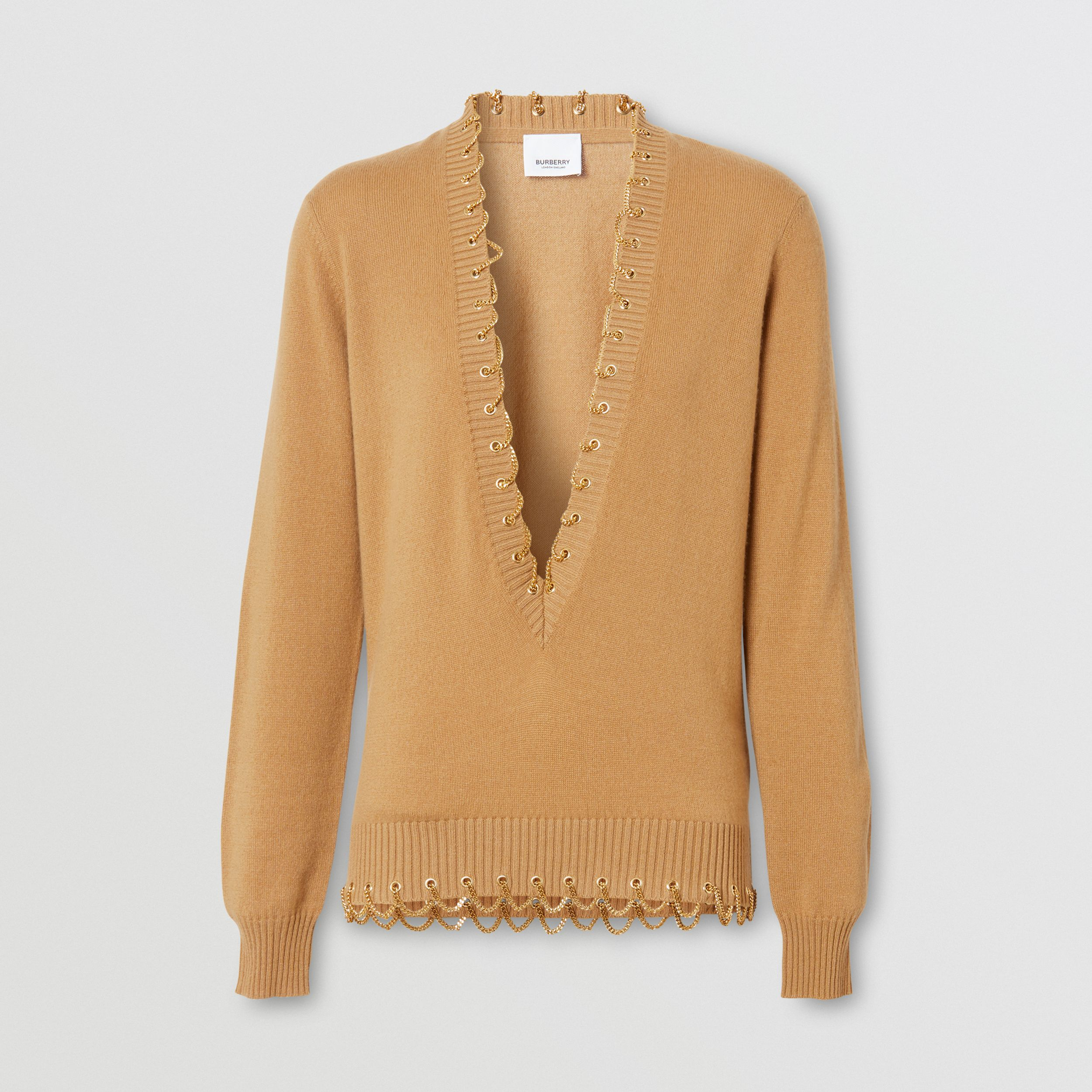 Chain Detail Cashmere Sweater in Camel - Women | Burberry - 4