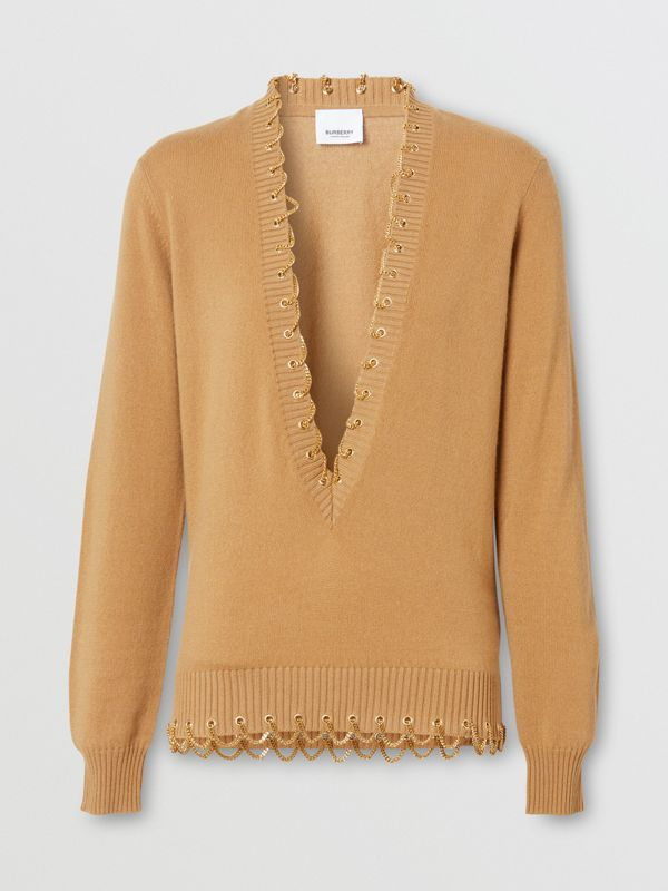 Chain Detail Cashmere Sweater in Camel - Women | Burberry United Kingdom - cell image 3