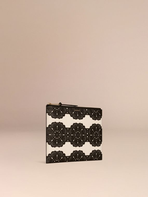 Natural Extra-large Laser-cut Lace Leather Beauty Wallet - cell image 2
