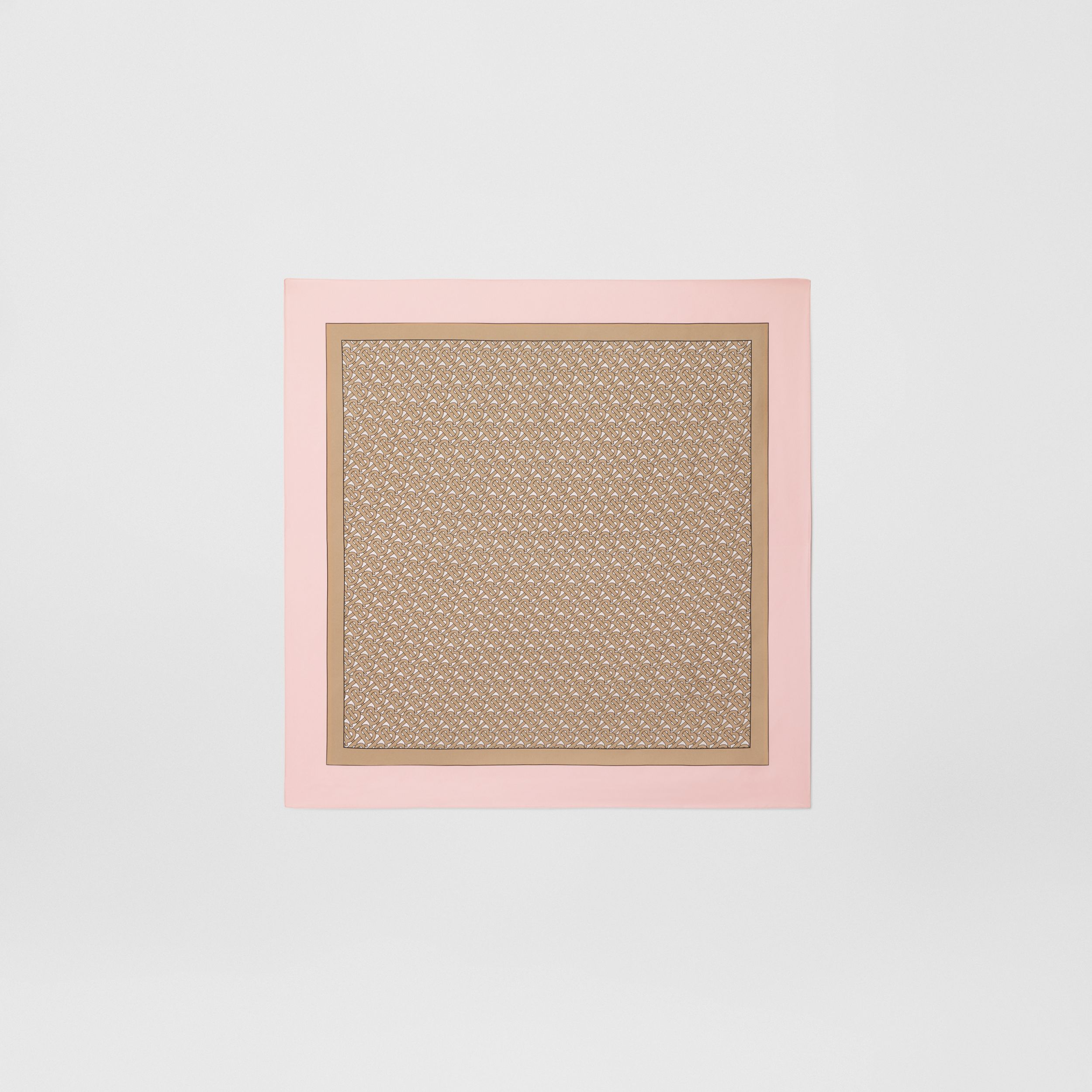 Monogram Print Silk Square Scarf in Pink - Women | Burberry - 1