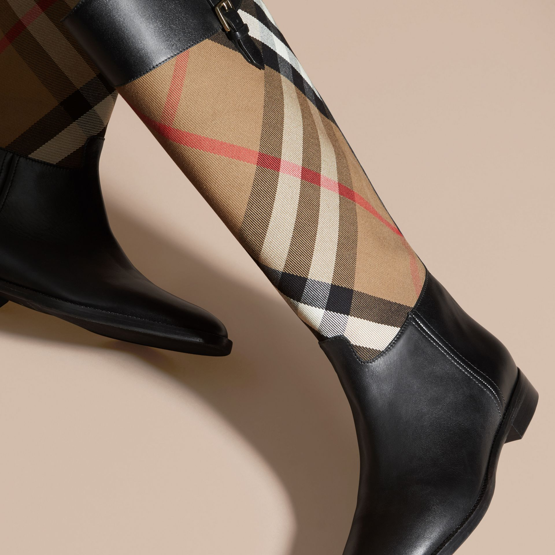 House Check and Leather Riding Boots in Black - Women | Burberry - gallery image 3