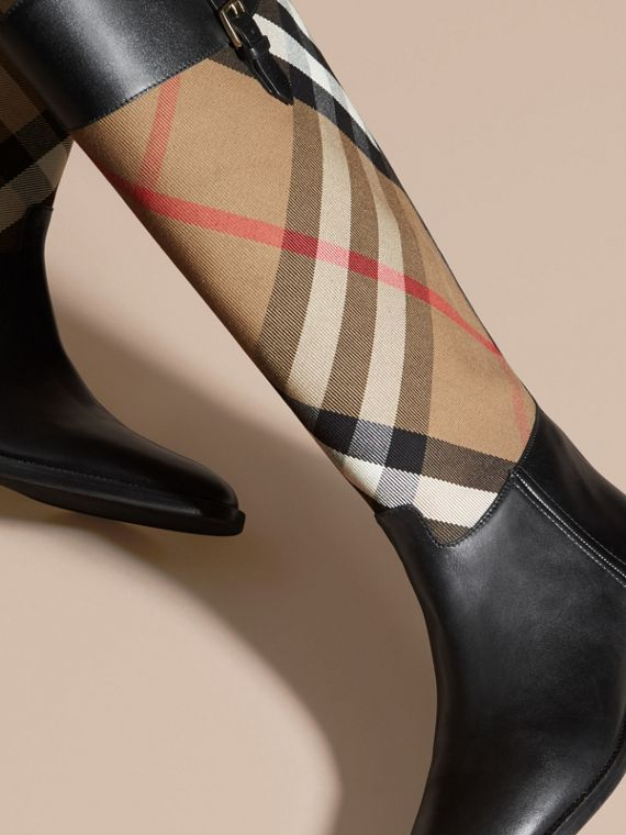 House Check and Leather Riding Boots in Black - Women | Burberry - cell image 2