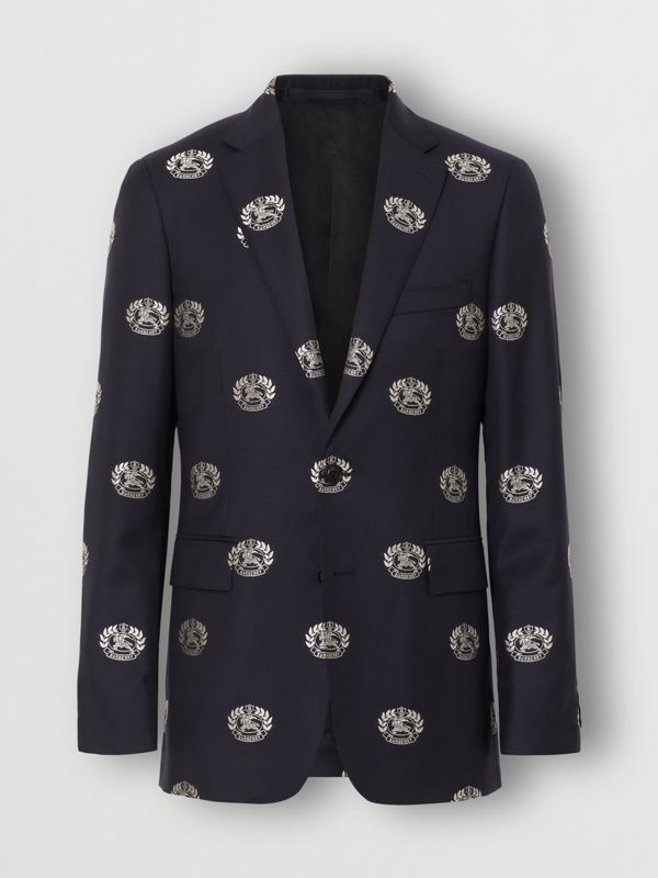 Slim Fit Fil Coupé Crest Wool Tailored Jacket in Midnight Blue - Men | Burberry - cell image 3