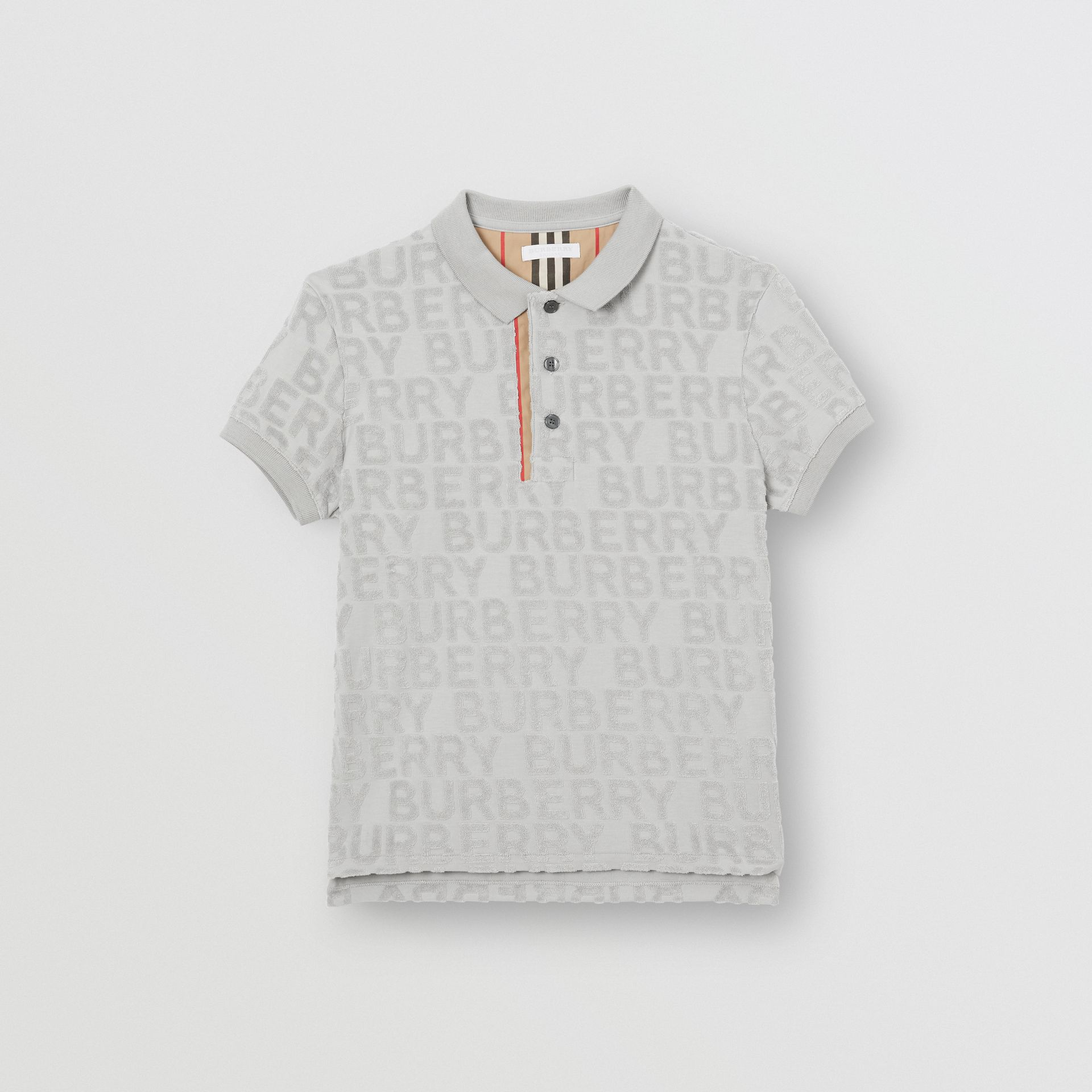 Logo Towelling Polo Shirt in Pale Grey | Burberry - gallery image 0