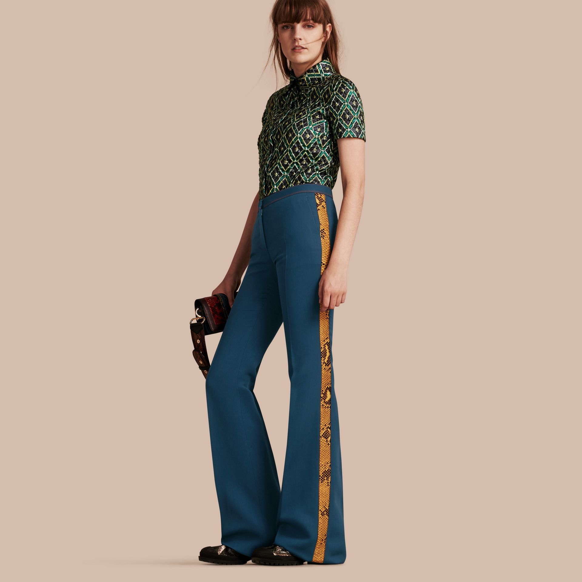 Ink blue Python Print Trim Wool Silk Flared Officer Trousers - gallery image 1