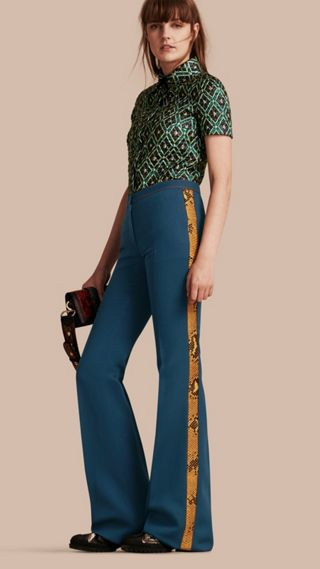 Python Print Trim Wool Silk Flared Officer Trousers