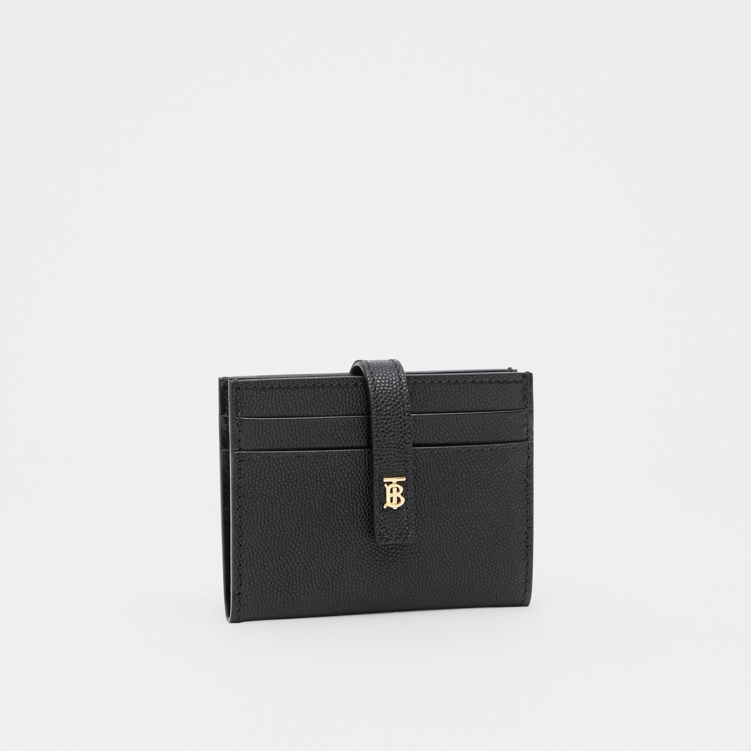 Monogram Motif Leather Folding Card Case in Black - Women | Burberry - 3