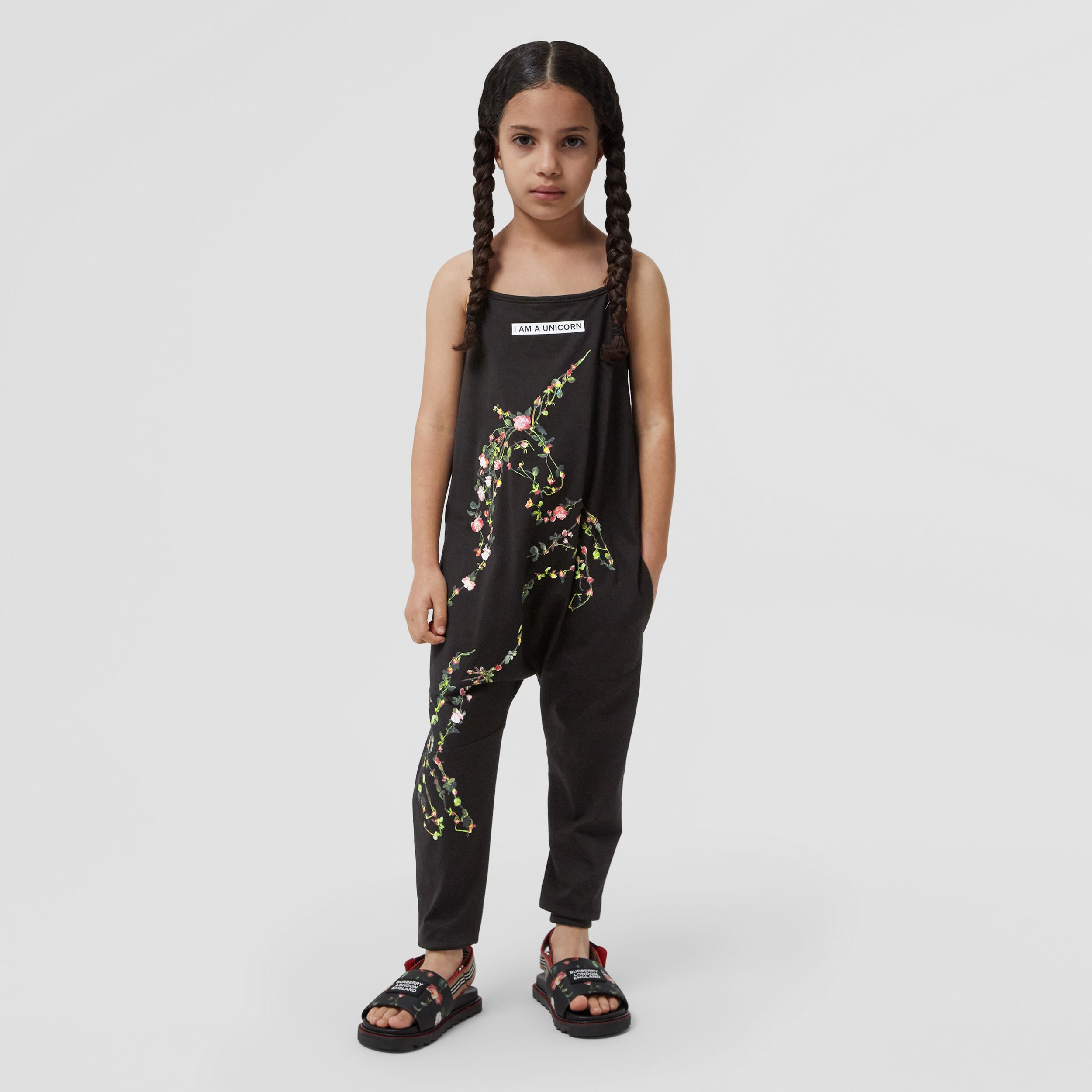 Montage Print Cotton Jumpsuit in Black | Burberry - 3