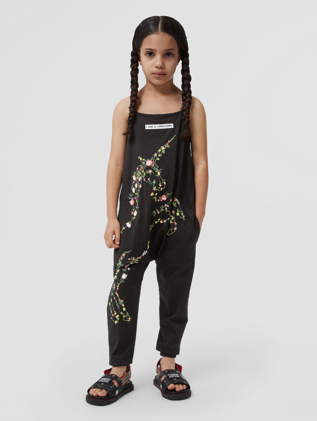 Montage Print Cotton Jumpsuit in Black