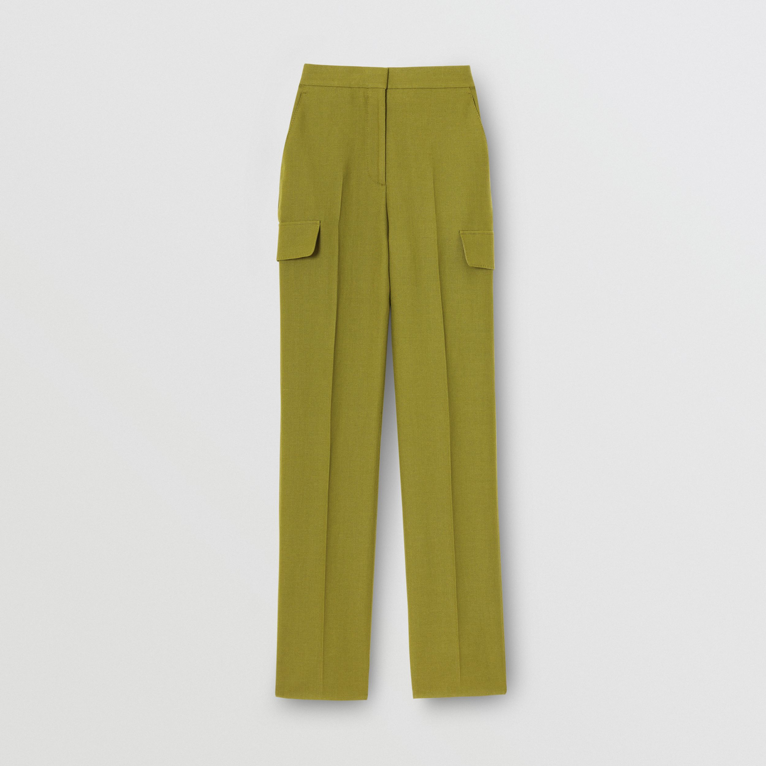 Wool Ramie Tailored Trousers in Juniper Green - Women | Burberry - 4