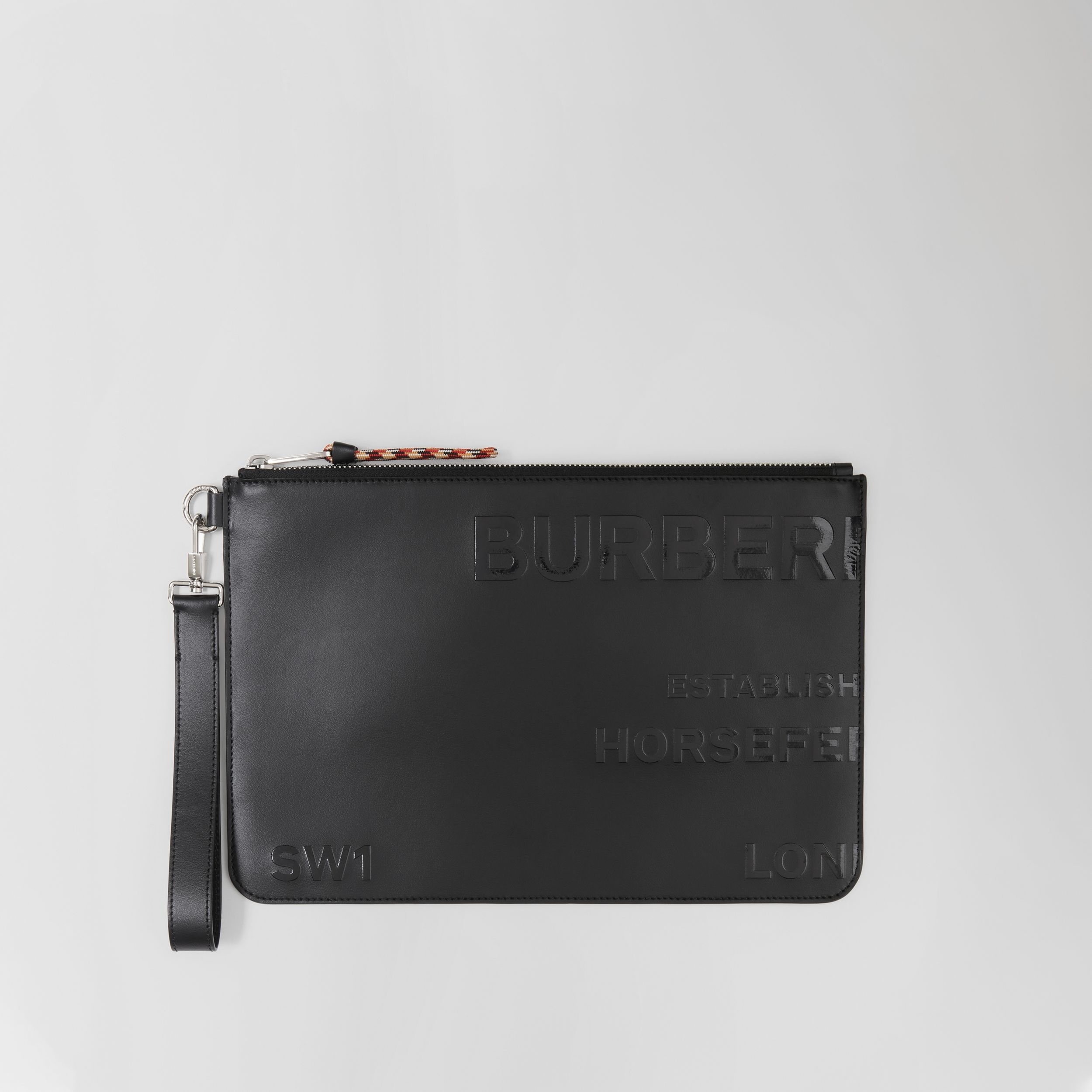 Horseferry Print Leather Zip Pouch in Black | Burberry - 1