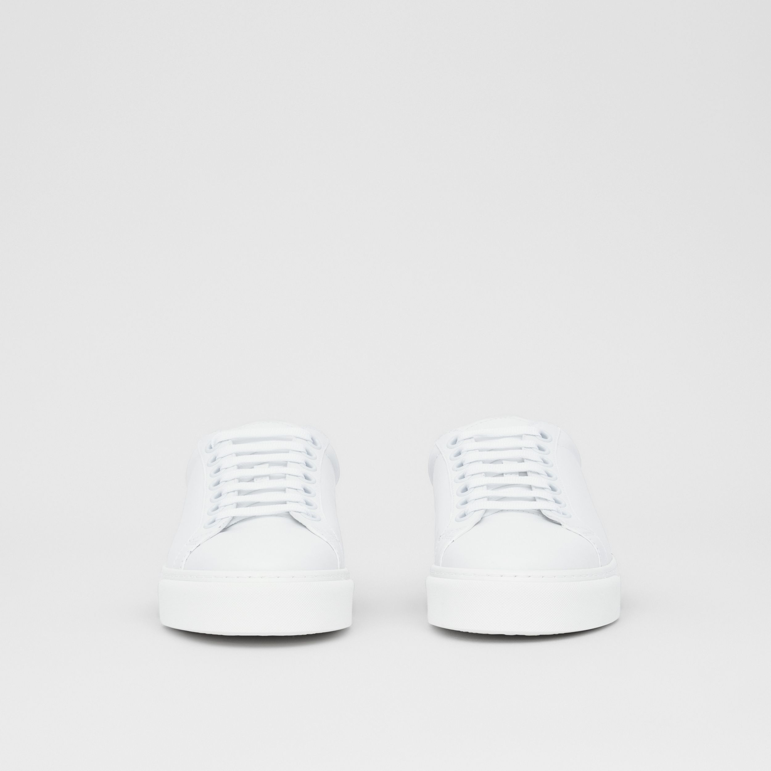 Bio-based Sole Leather Sneakers in Optic White - Women | Burberry - 4