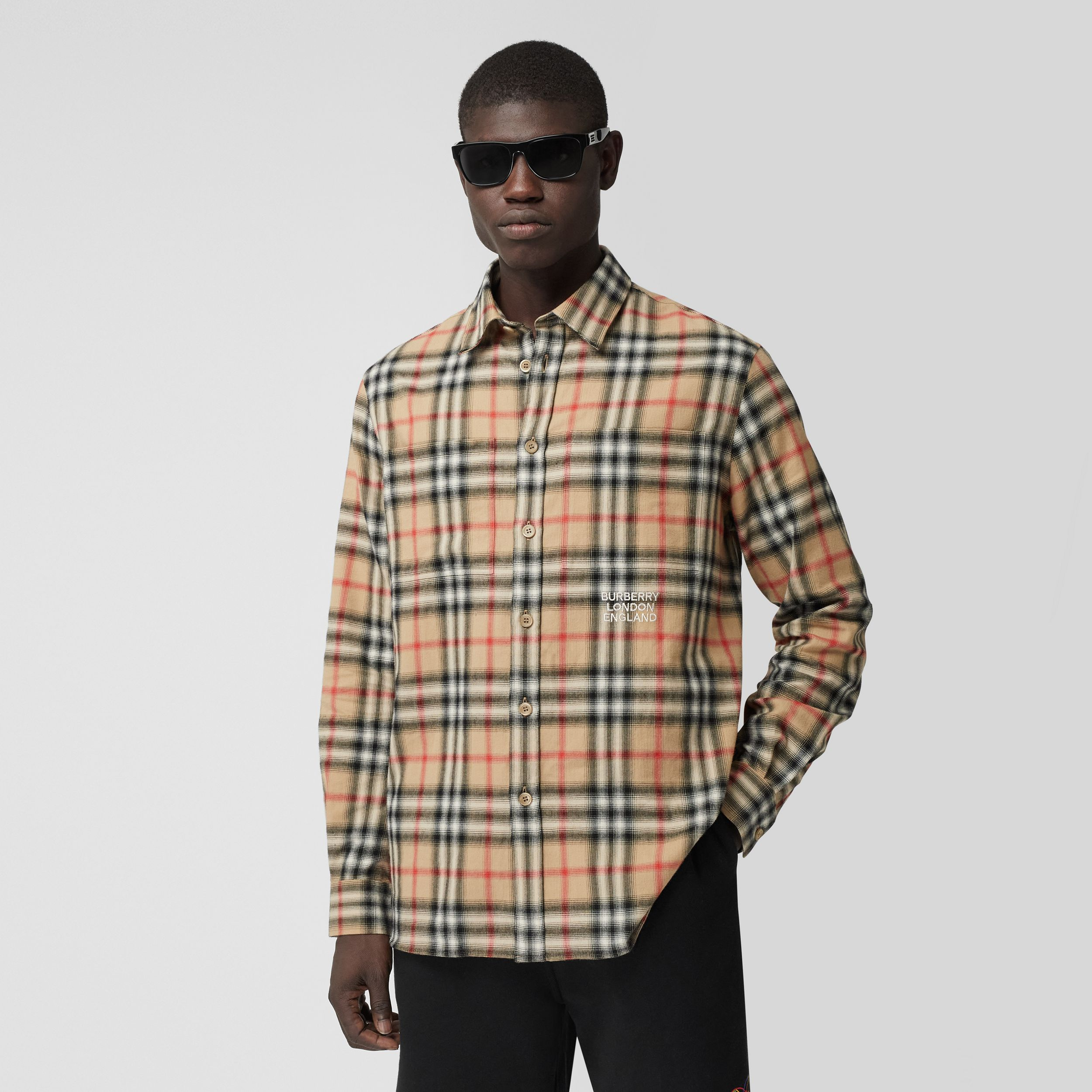Ombré Check Cotton Flannel Oversized Shirt in Archive Beige - Men | Burberry United Kingdom - 1