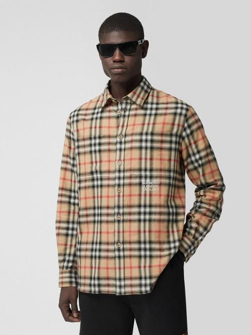 Burberry Cottons Ombré Check Cotton Flannel Oversized Shirt