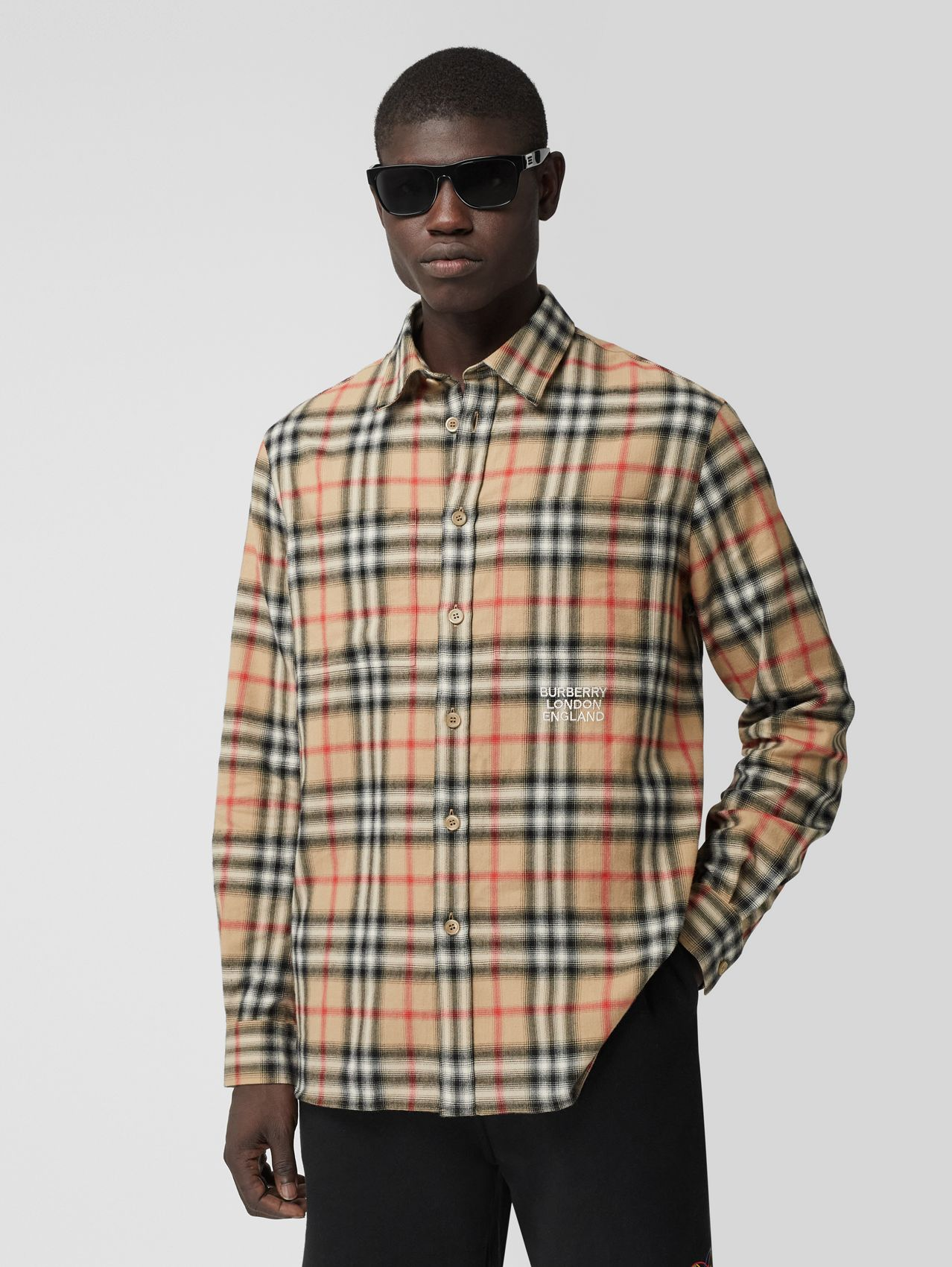 Ombré Check Cotton Flannel Oversized Shirt in Archive Beige