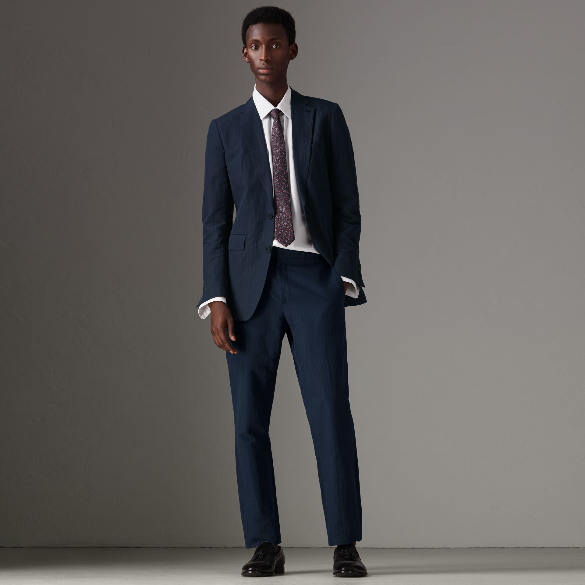 Slim Fit Pinstripe Ramie Cotton Suit in Navy - Men | Burberry Singapore - gallery image 0
