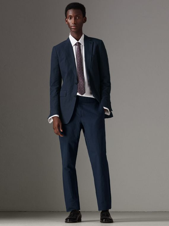 Slim Fit Pinstripe Ramie Cotton Suit in Navy