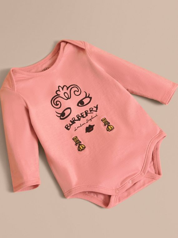 Lady Print Cotton Bodysuit in Apricot Pink