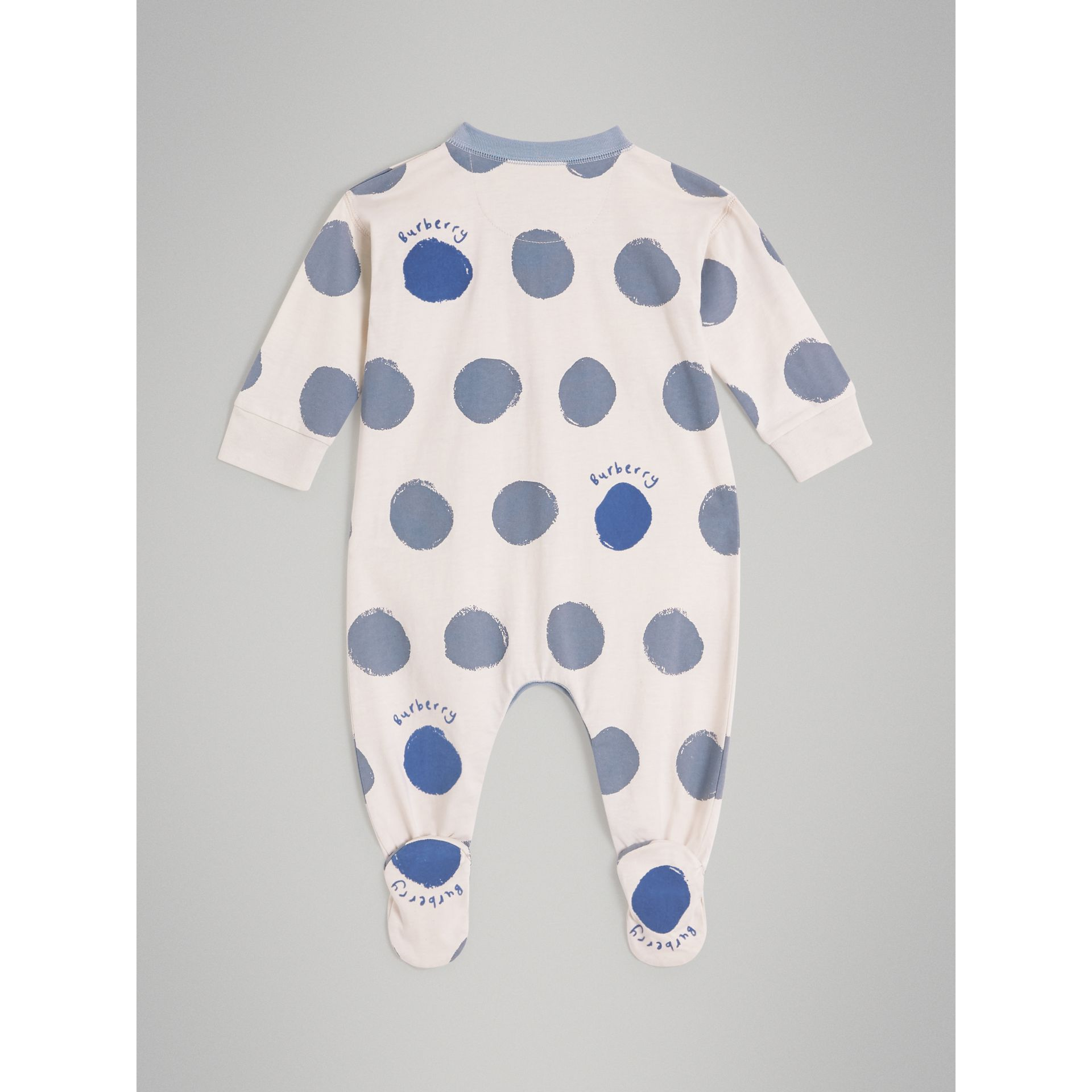 Graphic Spot Cotton Jersey Two-piece Baby Gift Set in Canvas Blue - Children | Burberry - gallery image 3