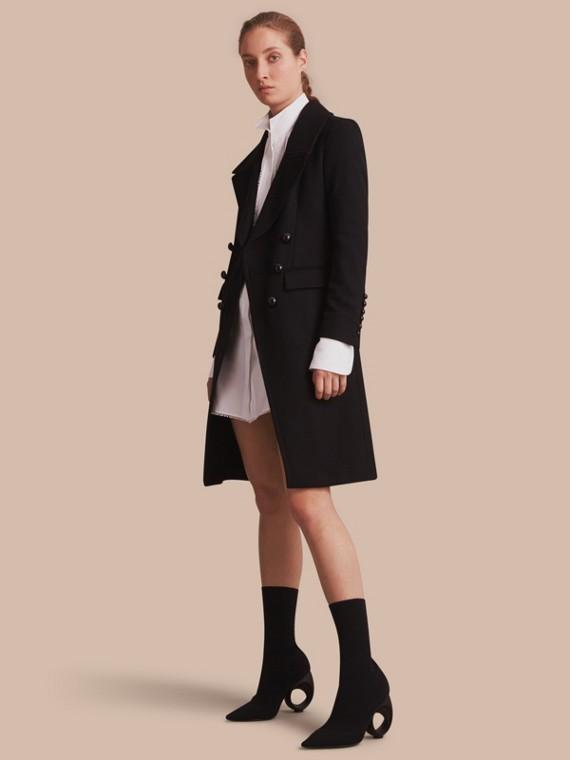 Manteau à double boutonnage en laine mélangée
