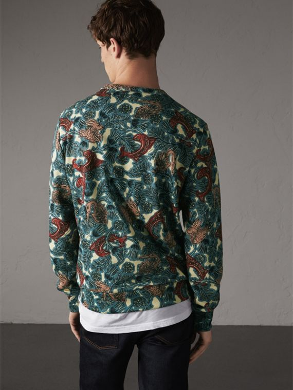 Beasts Print Cotton Sweatshirt in Mineral Blue - Men | Burberry - cell image 2