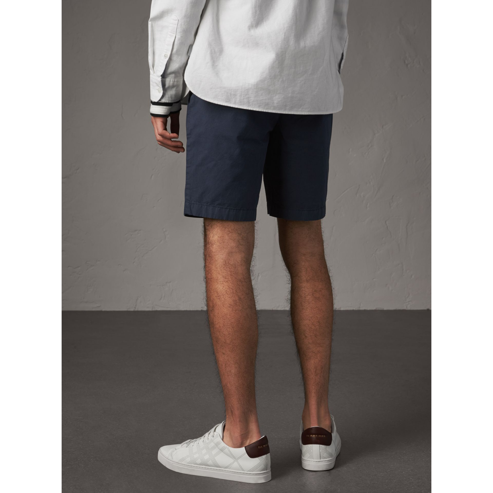 Cotton Poplin Chino Shorts in Indigo - Men | Burberry Australia - gallery image 2