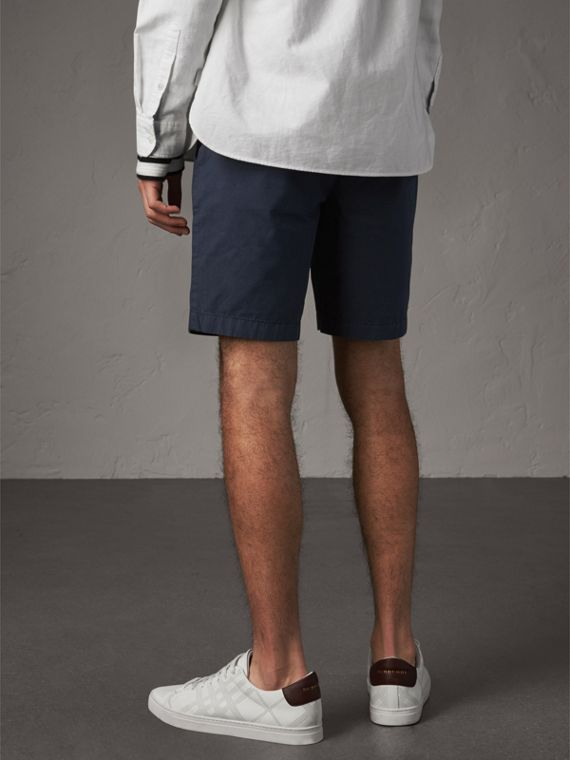 Cotton Poplin Chino Shorts in Indigo - Men | Burberry Singapore - cell image 2