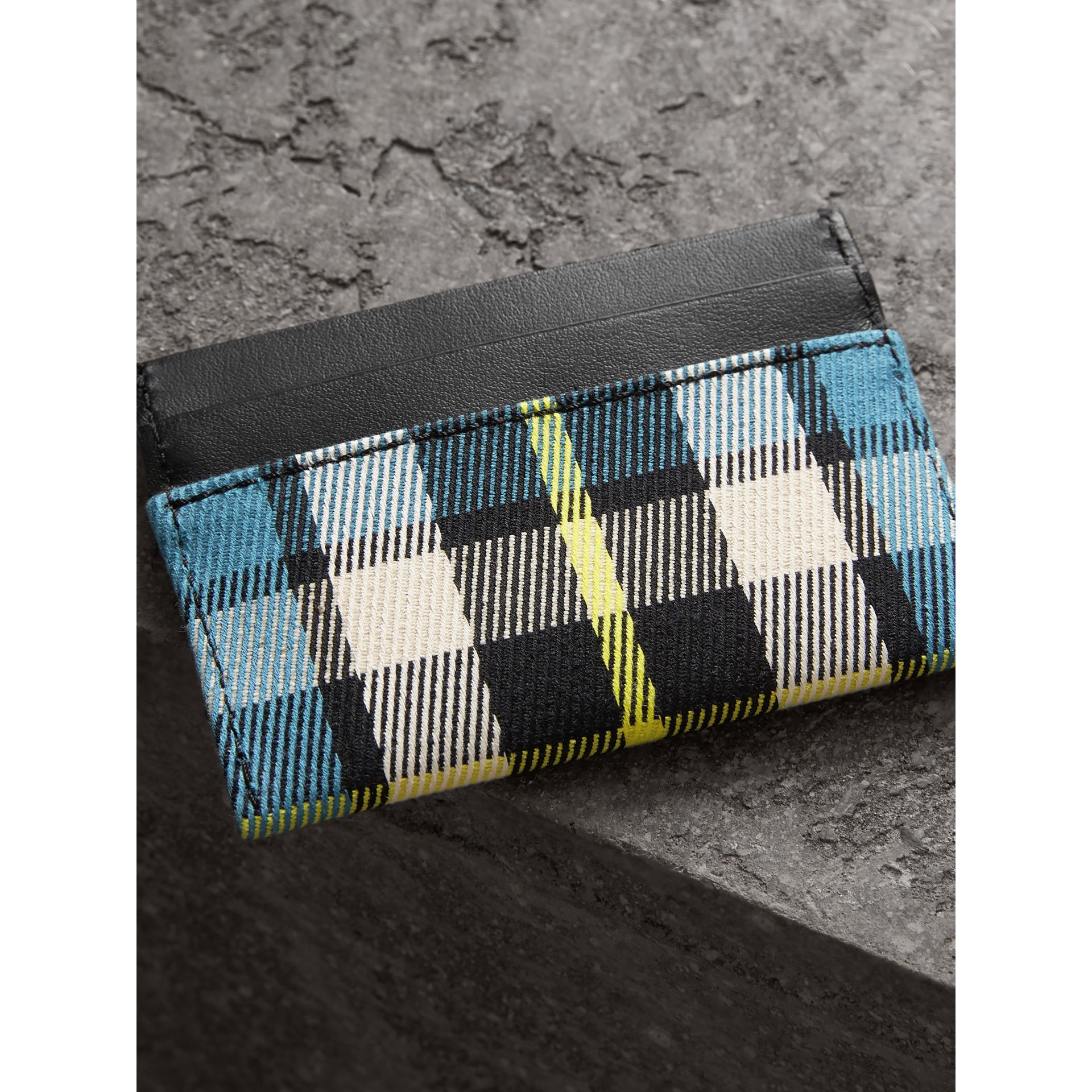Tartan Check and Leather Card Case in Dark Blue/black | Burberry - gallery image 2