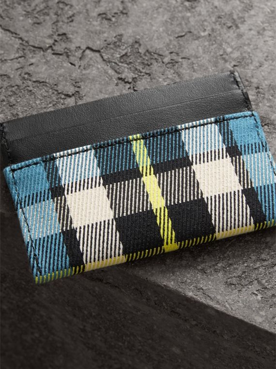 Tartan Check and Leather Card Case in Dark Blue/black | Burberry - cell image 2
