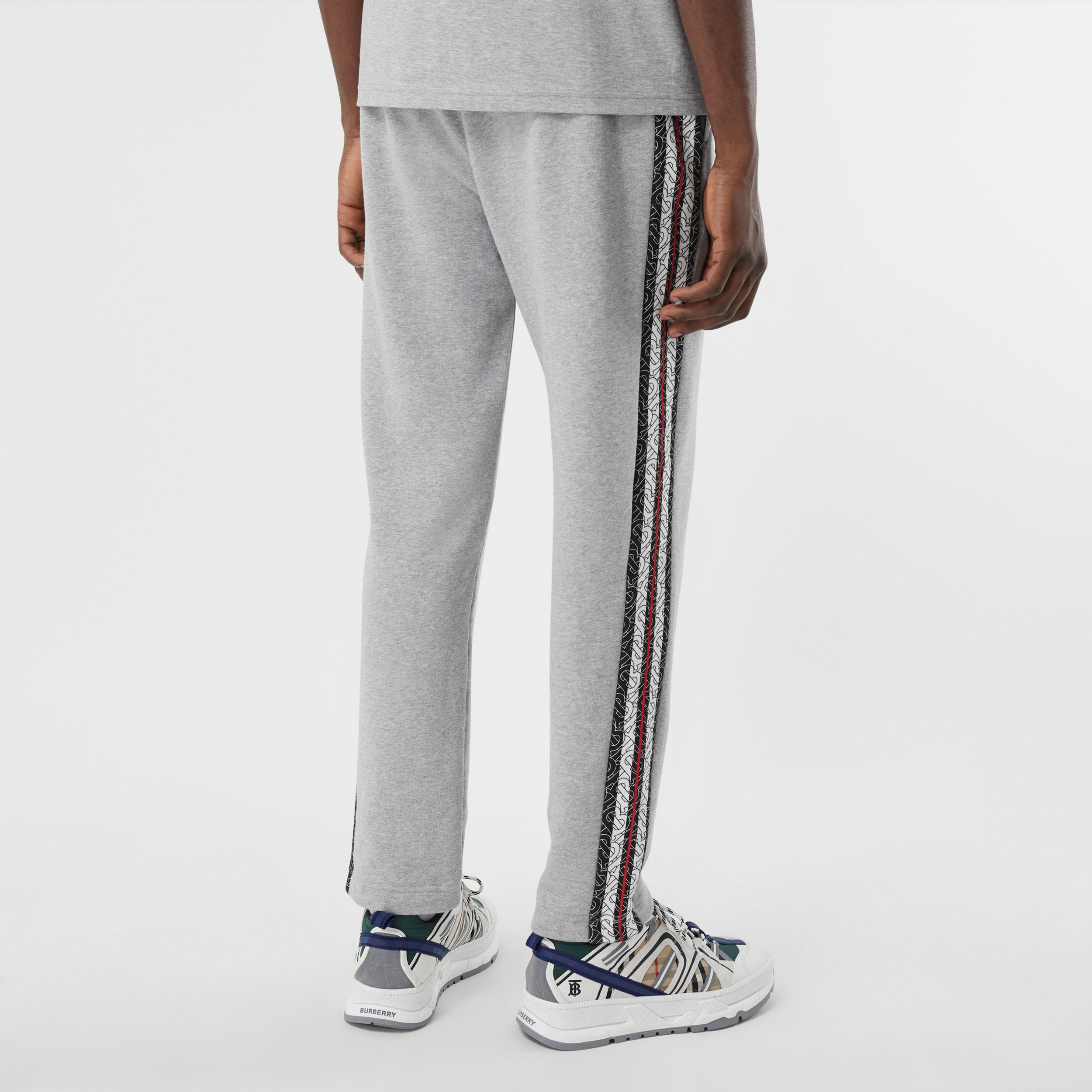 Monogram Stripe Panel Cotton Jogging Pants in Pale Grey Melange - Men | Burberry Australia - 3