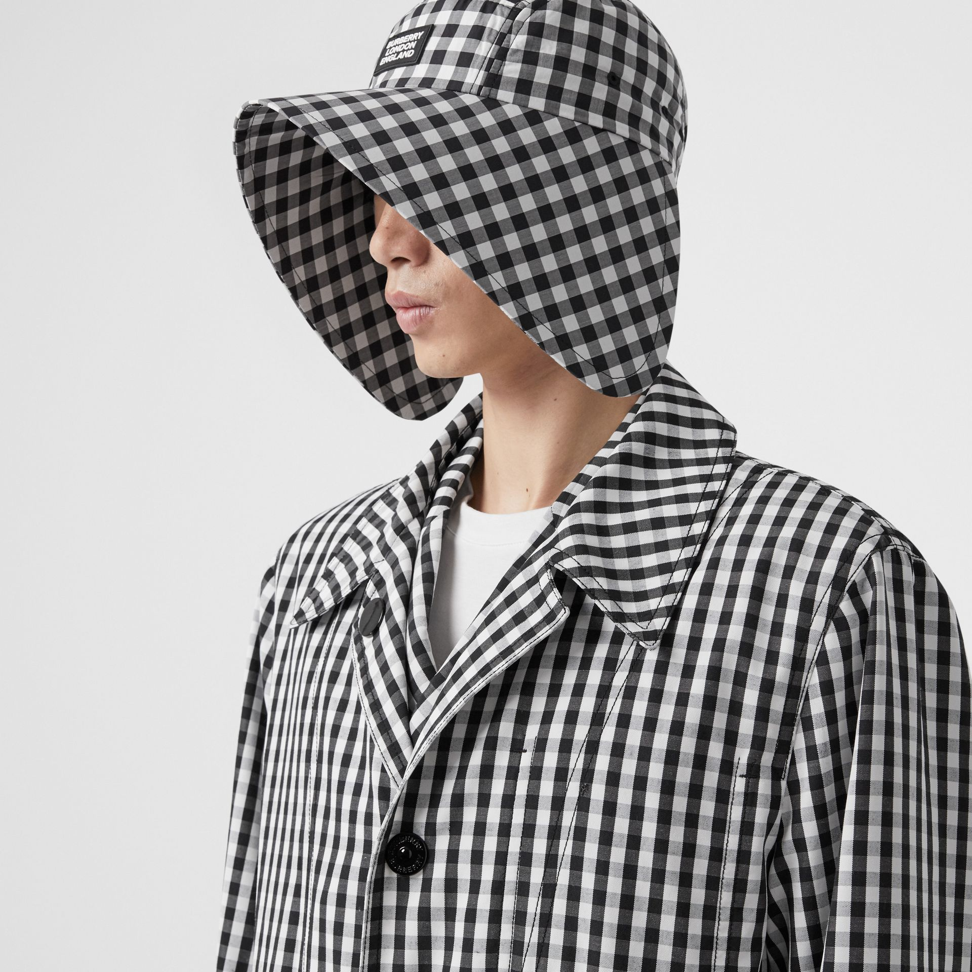 Gingham Technical Wool Loop-back Car Coat in Black | Burberry - gallery image 1
