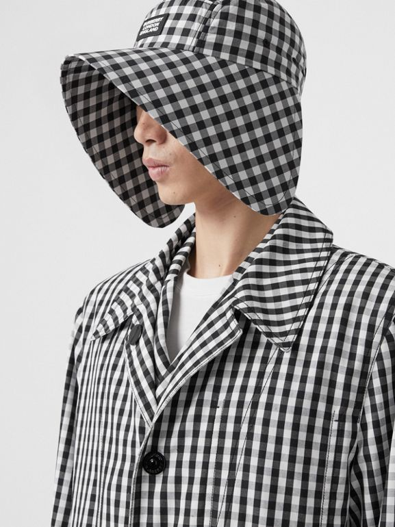 Gingham Technical Wool Loop-back Car Coat in Black | Burberry - cell image 1