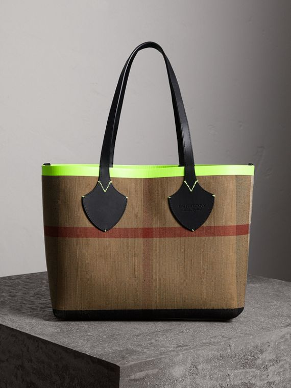 The Medium Giant Reversible Tote in Canvas and Leather in Black/neon Yellow