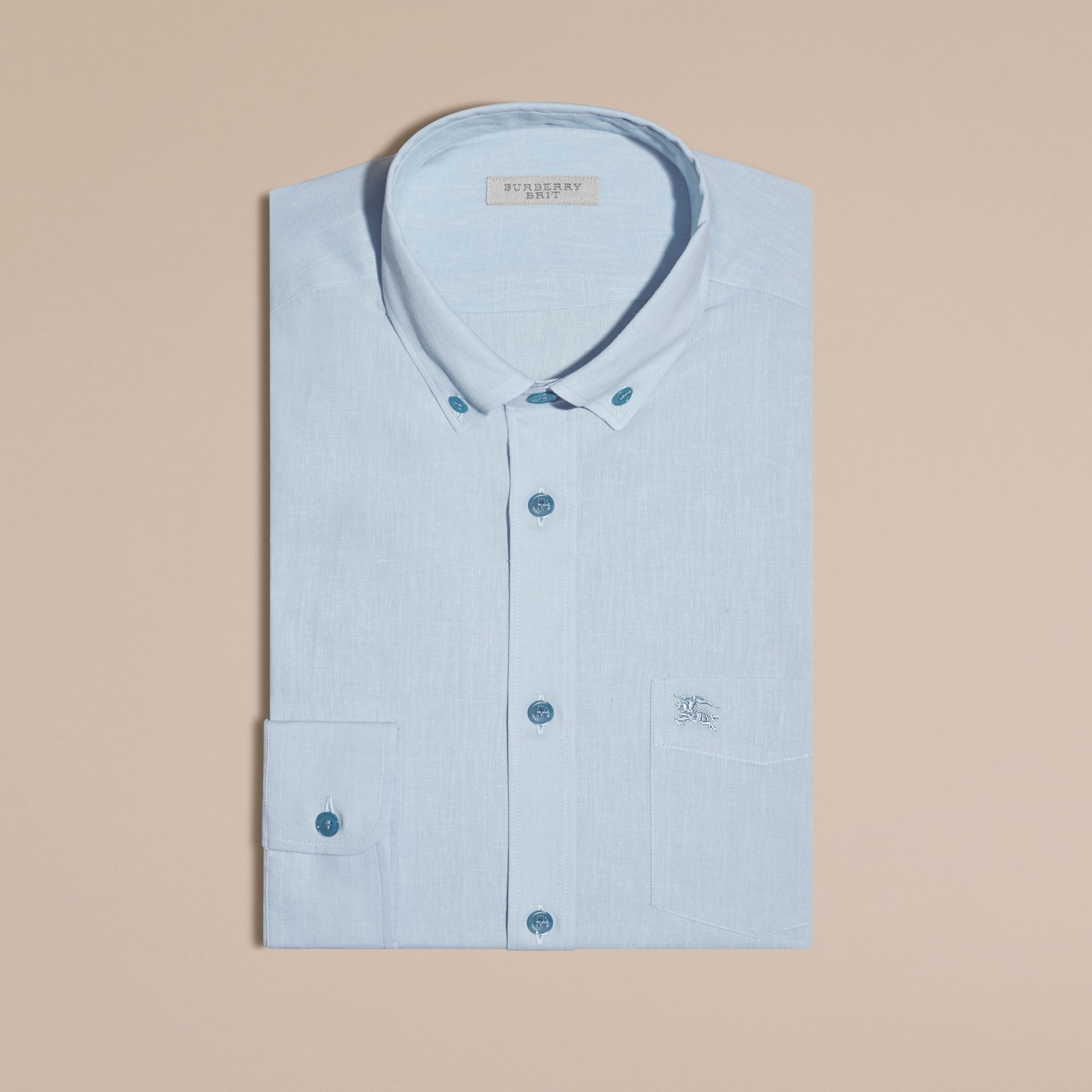 Pale blue Button-down Collar Cotton Linen Shirt Pale Blue - gallery image 4