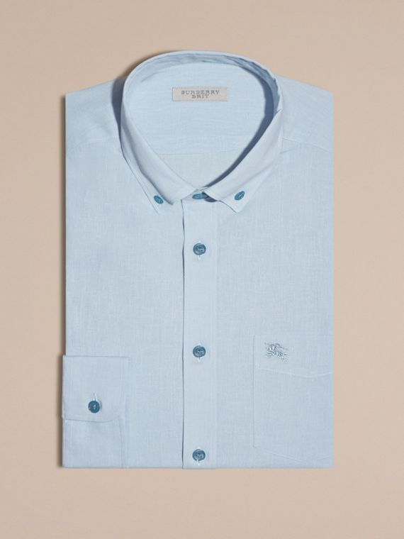 Pale blue Button-down Collar Cotton Linen Shirt Pale Blue - cell image 3