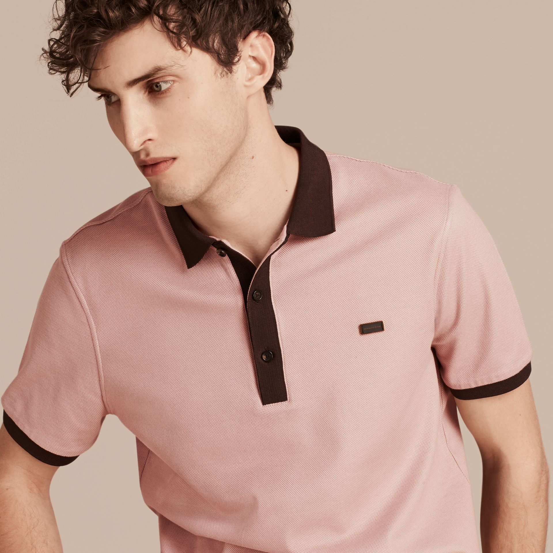 Slate pink/burgundy red Mercerised Cotton Piqué Polo Shirt Slate Pink/burgundy Red - gallery image 4