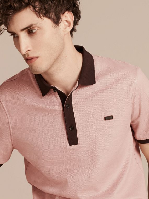 Slate pink/burgundy red Mercerised Cotton Piqué Polo Shirt Slate Pink/burgundy Red - cell image 3