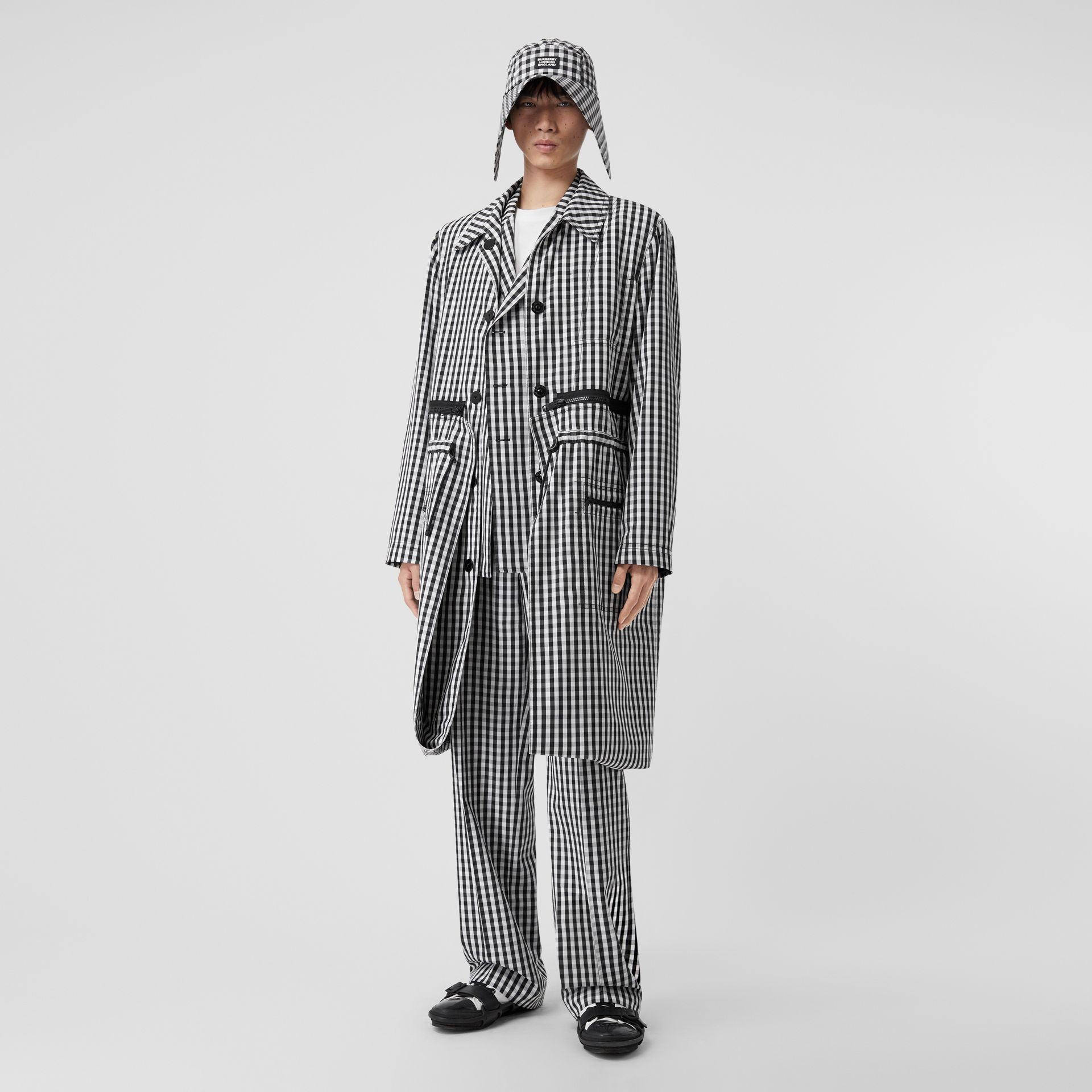 Gingham Technical Wool Loop-back Car Coat in Black | Burberry Canada - gallery image 6