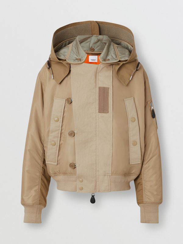 Detachable Quilted Hood Nylon Bomber Jacket in Honey - Men | Burberry - cell image 3