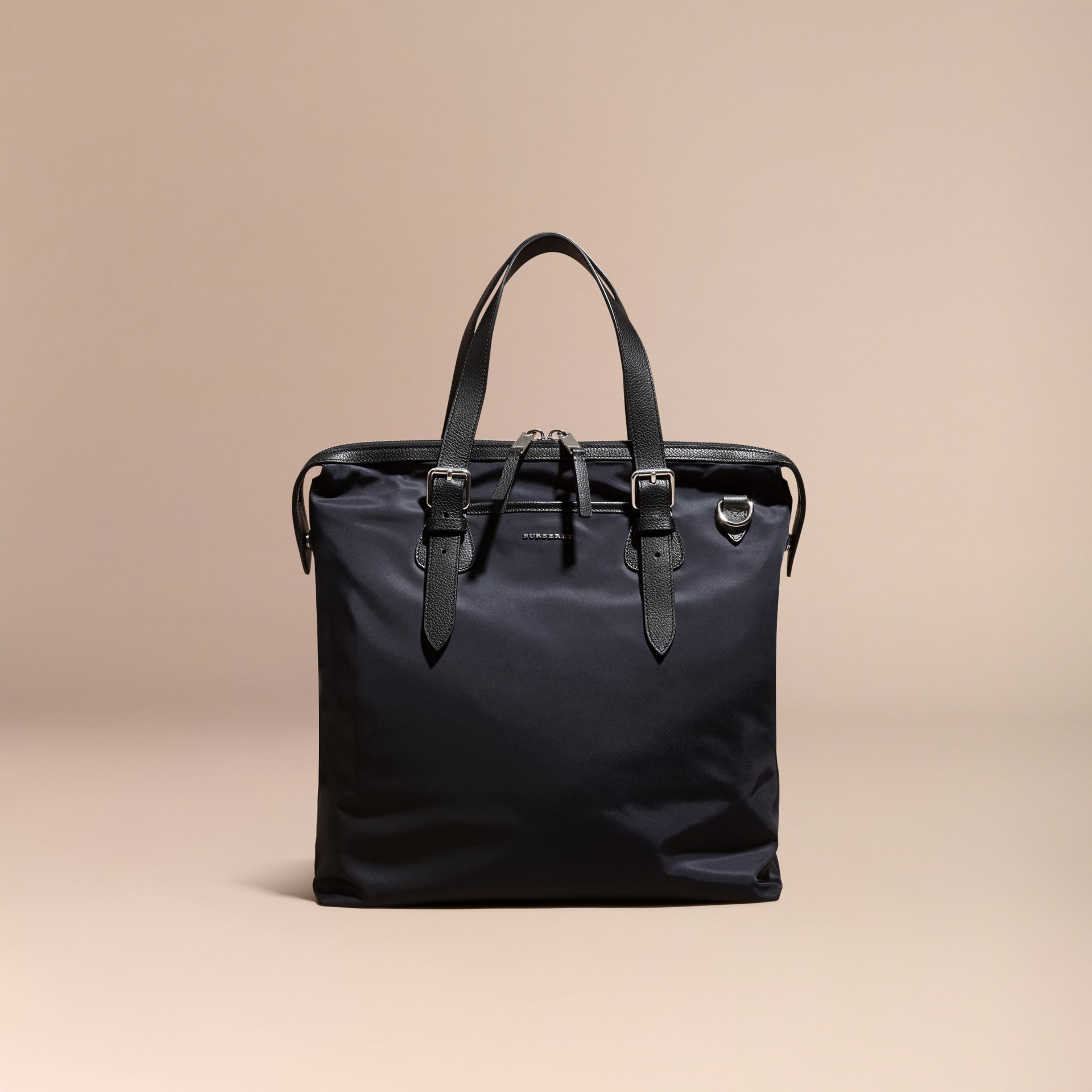 Dark navy Leather Trim Tote Bag Dark Navy - gallery image 8