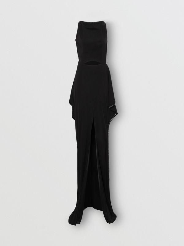 Crystal Detail Cut-out Stretch Jersey Gown in Black - Women | Burberry - cell image 3