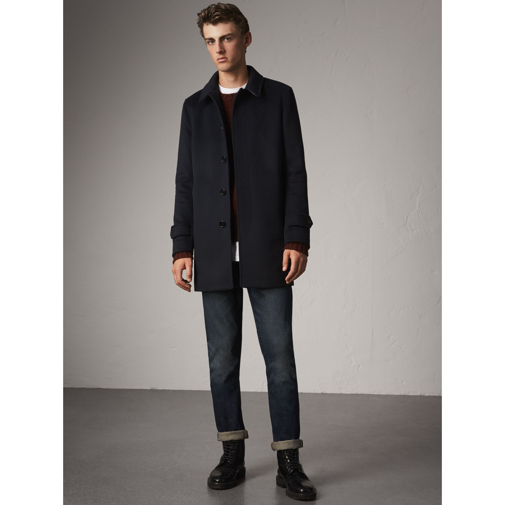 Wool Cashmere Car Coat in Navy - Men | Burberry Singapore - gallery image 6
