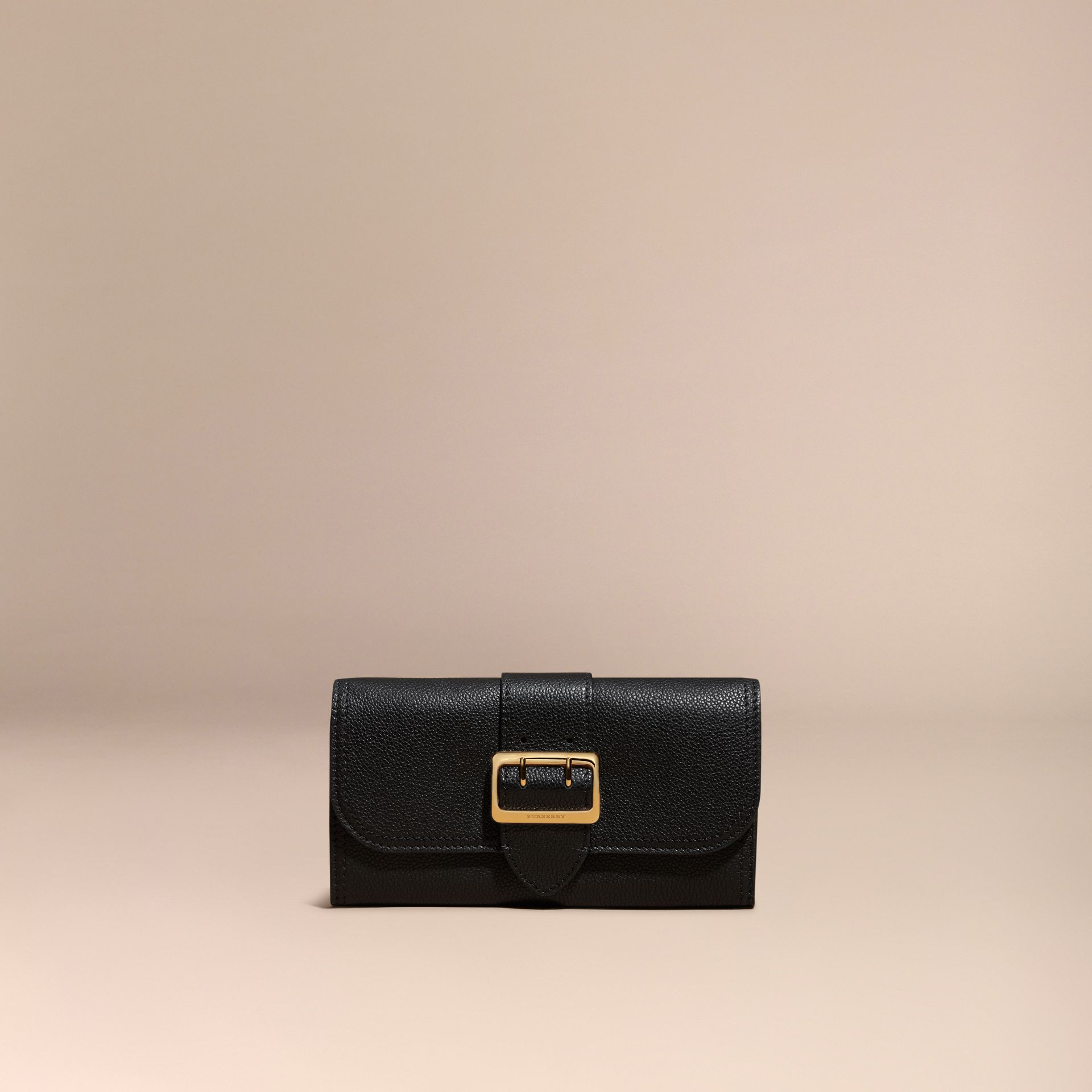 Black Textured Leather Continental Wallet Black - gallery image 2
