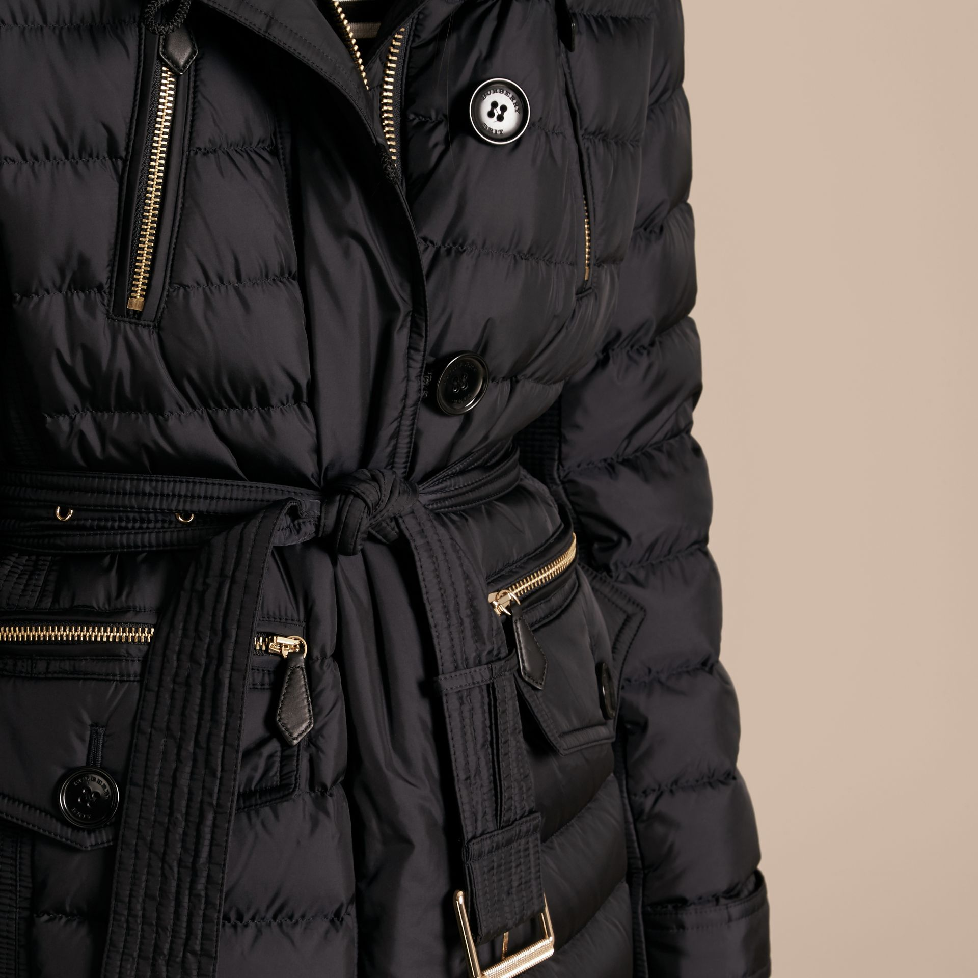 Navy Down-filled Parka with Detachable Fox Fur Trim Navy - gallery image 5