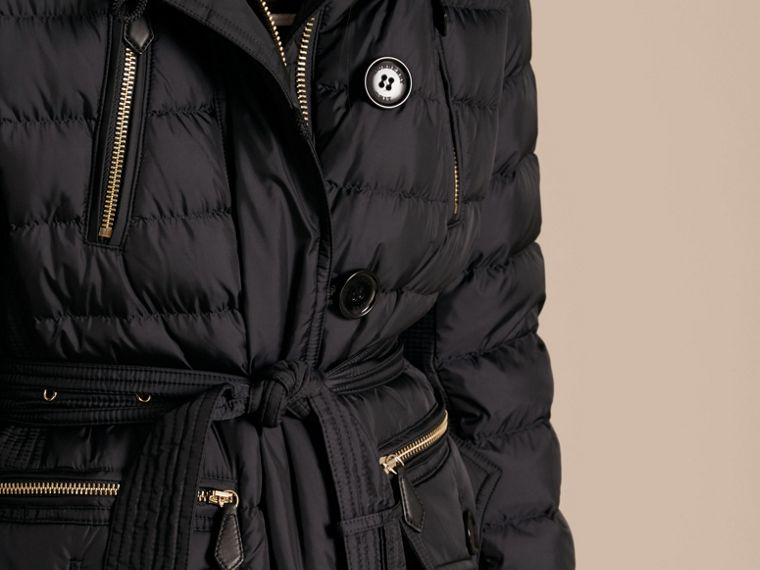 Navy Down-filled Parka with Detachable Fox Fur Trim Navy - cell image 4