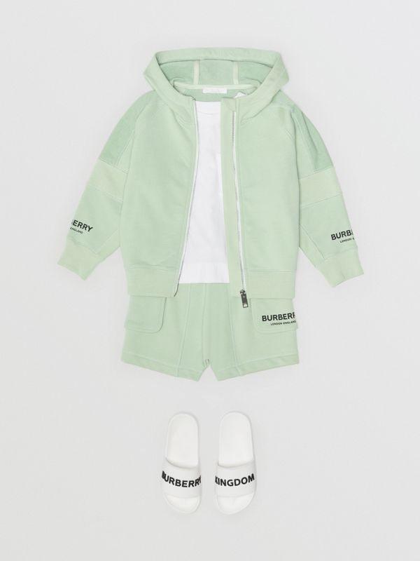 Logo Print Cotton Hooded Top in Pale Mint | Burberry - cell image 2